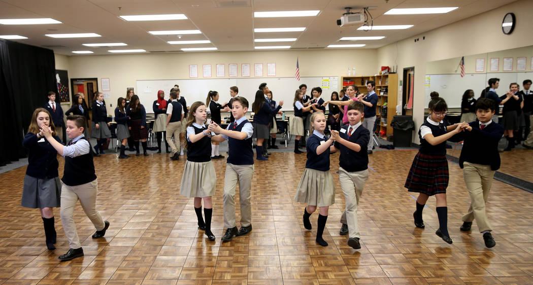 Students take slow ballroom class at American Preparatory Academy charter school in Las Vegas Thursday, Jan. 3, 2019. K.M. Cannon Las Vegas Review-Journal @KMCannonPhoto