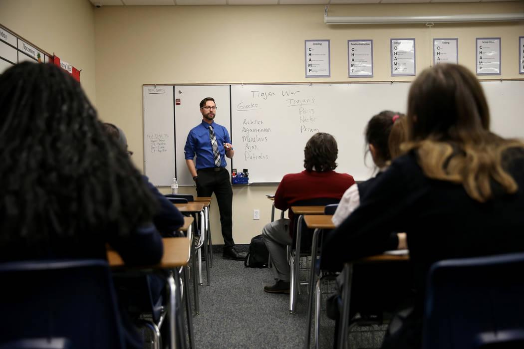 Mark Bodenchak teaches Latin at American Preparatory Academy charter school in Las Vegas Thursday, Jan. 3, 2019. K.M. Cannon Las Vegas Review-Journal @KMCannonPhoto