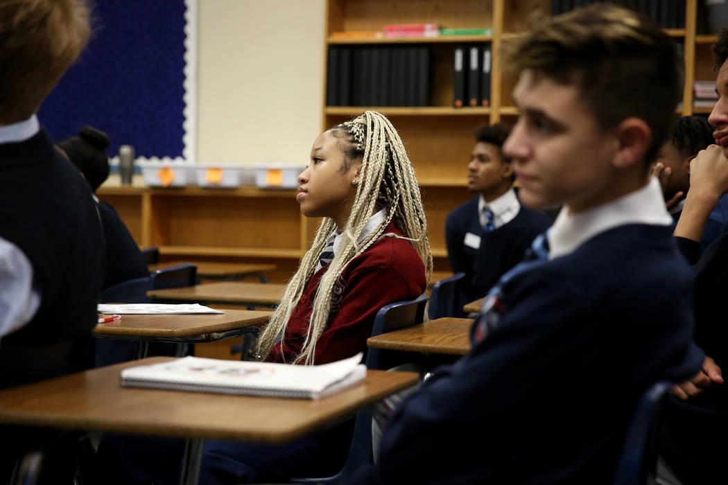 Dinah Jones, center, during Mark Bodenchak's Latin class at American Preparatory Academy charter school in Las Vegas Thursday, Jan. 3, 2019. K.M. Cannon Las Vegas Review-Journal @KMCannonPhoto
