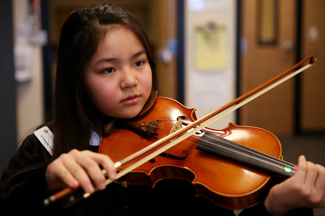 Vivianne Nguyen in strings class at American Preparatory Academy charter school in Las Vegas Thursday, Jan. 3, 2019. K.M. Cannon Las Vegas Review-Journal @KMCannonPhoto