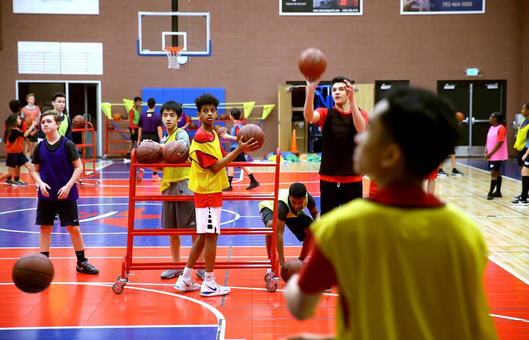 Students run basketball drills at American Preparatory Academy charter school in Las Vegas Thursday, Jan. 3, 2019. K.M. Cannon Las Vegas Review-Journal @KMCannonPhoto