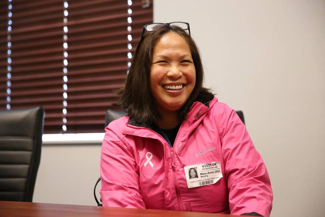 Mary-Anne Ulan is interviewed about her child attending Legacy Traditional School in North Las Vegas, on Thursday, Jan. 10, 2019. Erik Verduzco Las Vegas Review-Journal @Erik_Verduzco