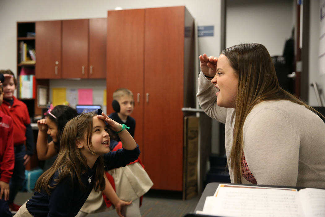 Jordan Tyger leads a song and dance for her students including Jordan Klein, 7, at Legacy Traditional School in North Las Vegas, on Thursday, Jan. 10, 2019. Erik Verduzco Las Vegas Review-Journal ...