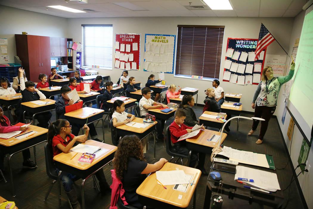 Kim Beers instructs her third grade class at Legacy Traditional School in North Las Vegas, on Thursday, Jan. 10, 2019. Erik Verduzco Las Vegas Review-Journal @Erik_Verduzco