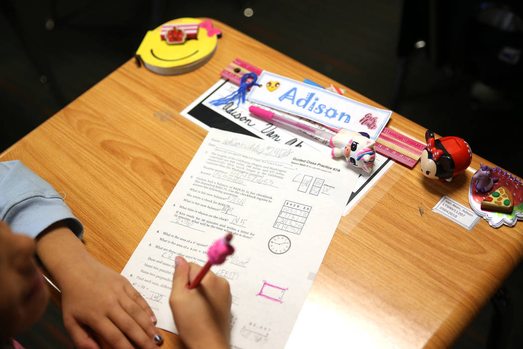 A third grade student completes her math worksheet during class at Legacy Traditional School in North Las Vegas, on Thursday, Jan. 10, 2019. Erik Verduzco Las Vegas Review-Journal @Erik_Verduzco