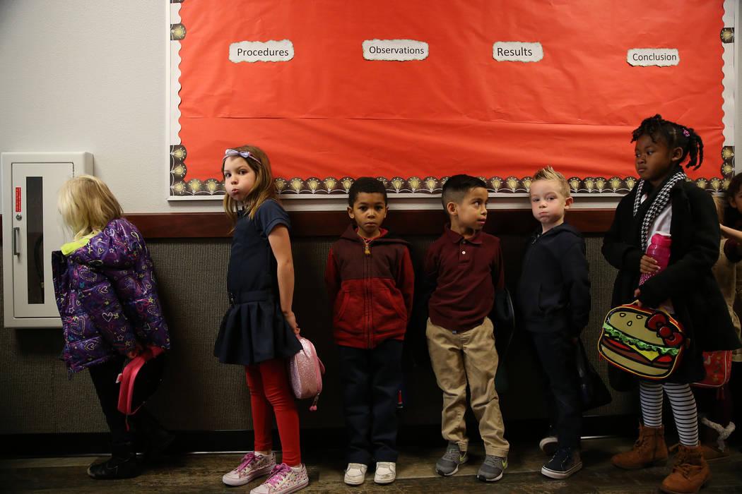 Students wait in the hallway at Legacy Traditional School in North Las Vegas, on Thursday, Jan. 10, 2019. Erik Verduzco Las Vegas Review-Journal @Erik_Verduzco