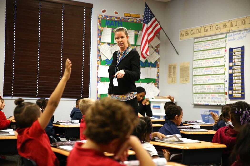 Marianne Haenel speaks to her first grade class at Legacy Traditional School in North las Vegas, on Thursday, Jan. 10, 2019. Erik Verduzco Las Vegas Review-Journal @Erik_Verduzco3