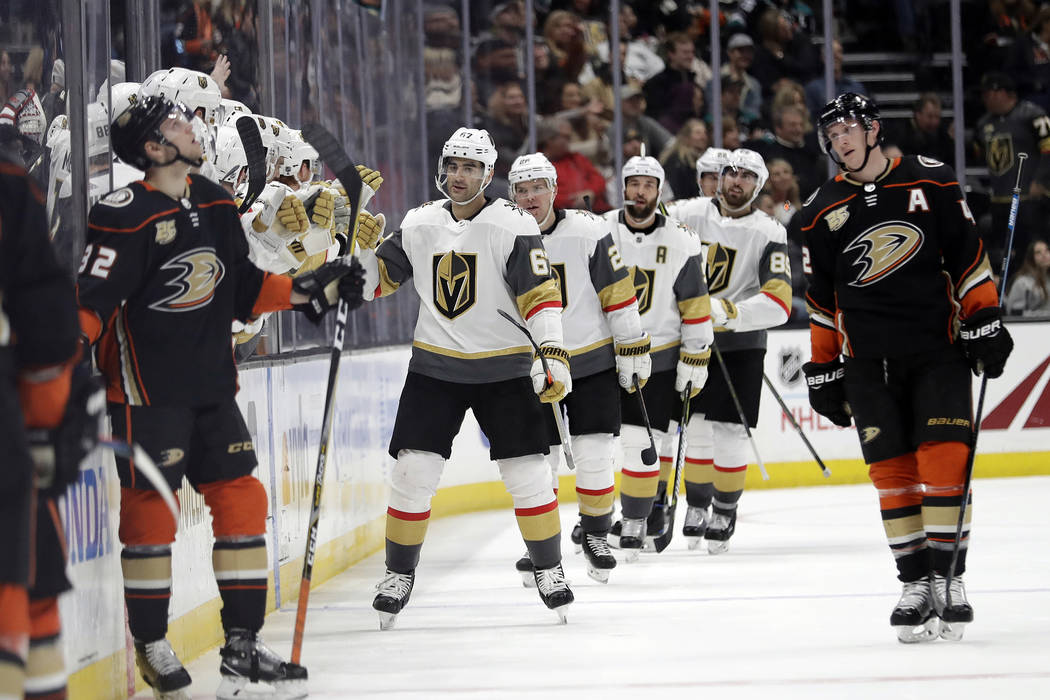 1807662ff Vegas Golden Knights  Max Pacioretty (67) celebrates his goal with  teammates on the
