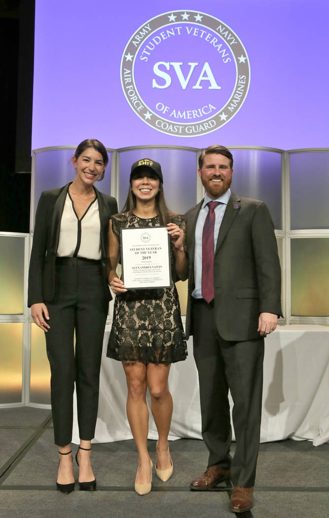 Student Veteran of the Year Alexandria Sawin is joined by emcee and actress Jamie Gray Hyder and Jared Lyon, President and CEO of Student Veterans of America. (Photo by Robb Cohen Photography and ...