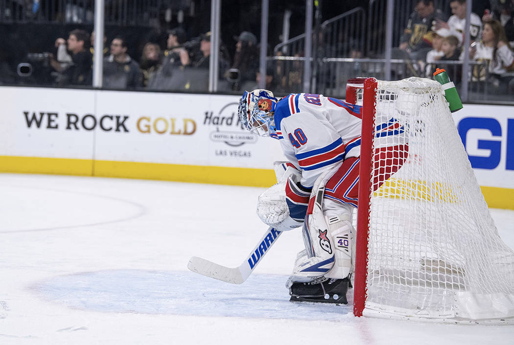 New York Rangers defenseman goalie Alexandar Georgiev reacts during the second period of an NHL hockey game against Vegas Golden Knights Tuesday, Jan. 8, 2019, in Las Vegas. The Knights defeated t ...