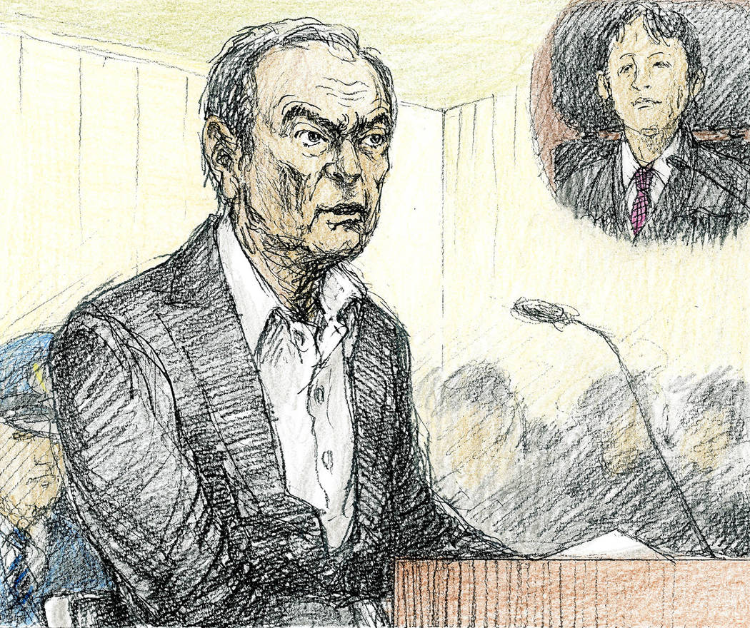 This courtroom sketch depicts former Nissan chairman Carlos Ghosn in a courtroom at the Tokyo District Court in Tokyo Tuesday, Jan. 8, 2019. Ghosn, denied any wrongdoing and proclaimed his loyalty ...