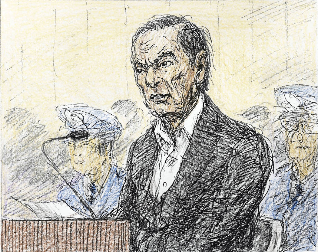 This courtroom sketch depicts former Nissan chairman Carlos Ghosn in a courtroom at the Tokyo District Court in Tokyo Tuesday, Jan. 8, 2019. Ghosn appeared in court on Tuesday and asserted his inn ...