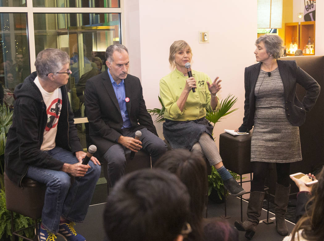 Pat Brown, left, CEO and founder of Impossible Foods, David Lipman, chief science officer at Impossible Foods, Mary Sue Milliken, co-chef and owner of Border Grill and Rachel Konrad, chief communi ...