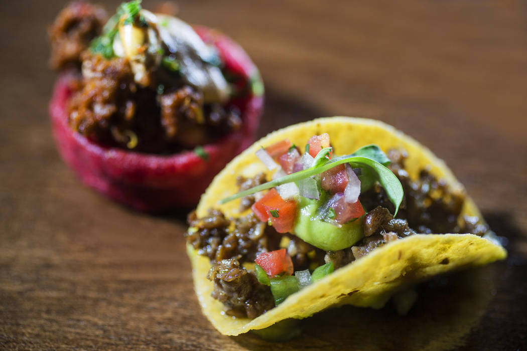 Impossible Tacos and Impossible sope during the launch of Impossible Burger 2.0 at Border Grill on Monday, Jan. 7, 2019, at Mandalay Bay, in Las Vegas. Benjamin Hager Las Vegas Review-Journal