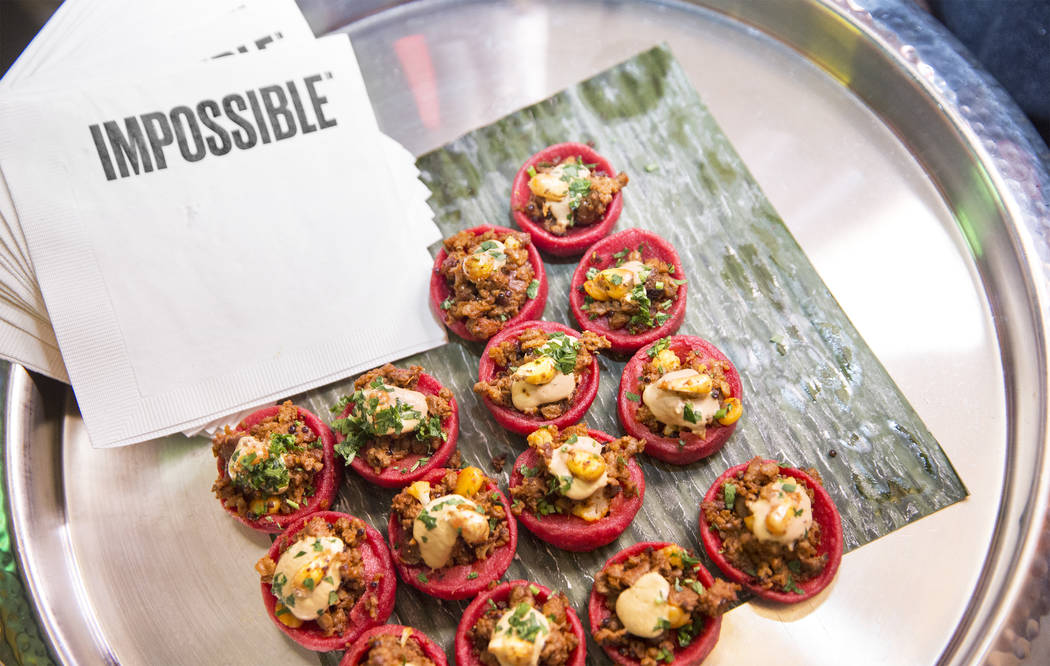 A tray of impossible sope during the launch of Impossible Burger 2.0 at Border Grill on Monday, Jan. 7, 2019, at Mandalay Bay, in Las Vegas. Benjamin Hager Las Vegas Review-Journal