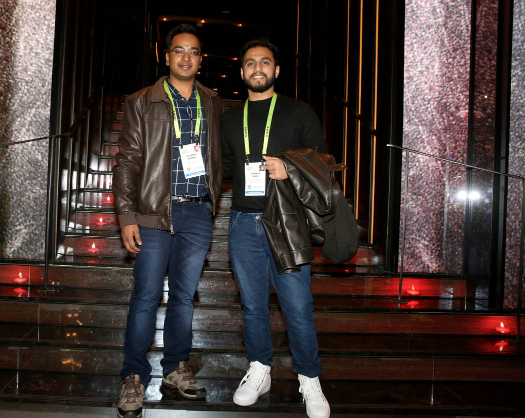 Conventioneers Avinash Bansal, left, and Chiraag Kapil of India at the CES 2019 C Space Party presented by Jewel Nightclub at Aria in Las Vegas Monday, Jan. 7, 2019. K.M. Cannon Las Vegas Review-J ...