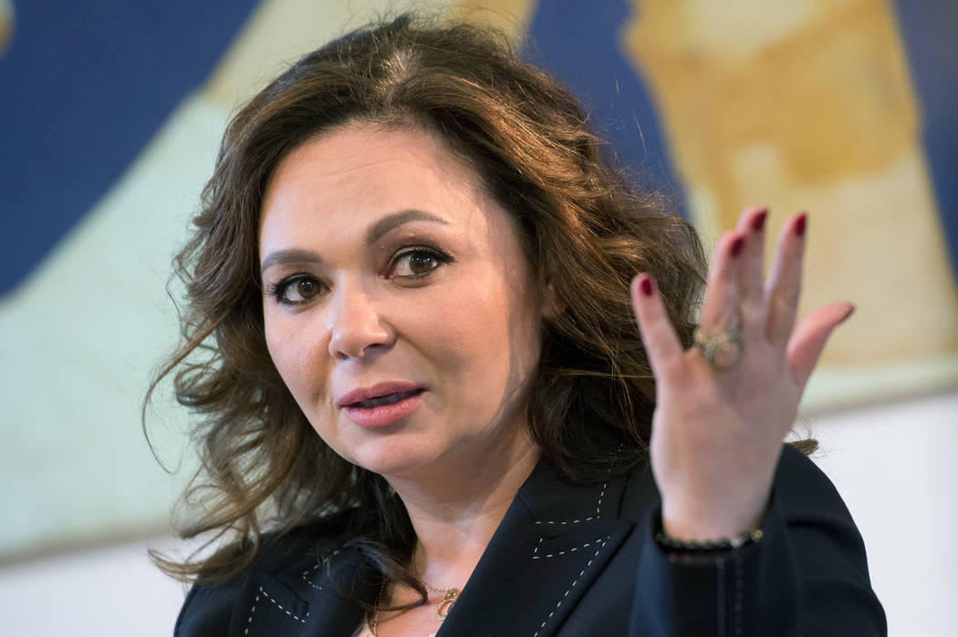 Russian lawyer Natalia Veselnitskaya speaks during an interview with The Associated Press in Moscow on April 22, 2018. (AP Photo/Dmitry Serebryakov)