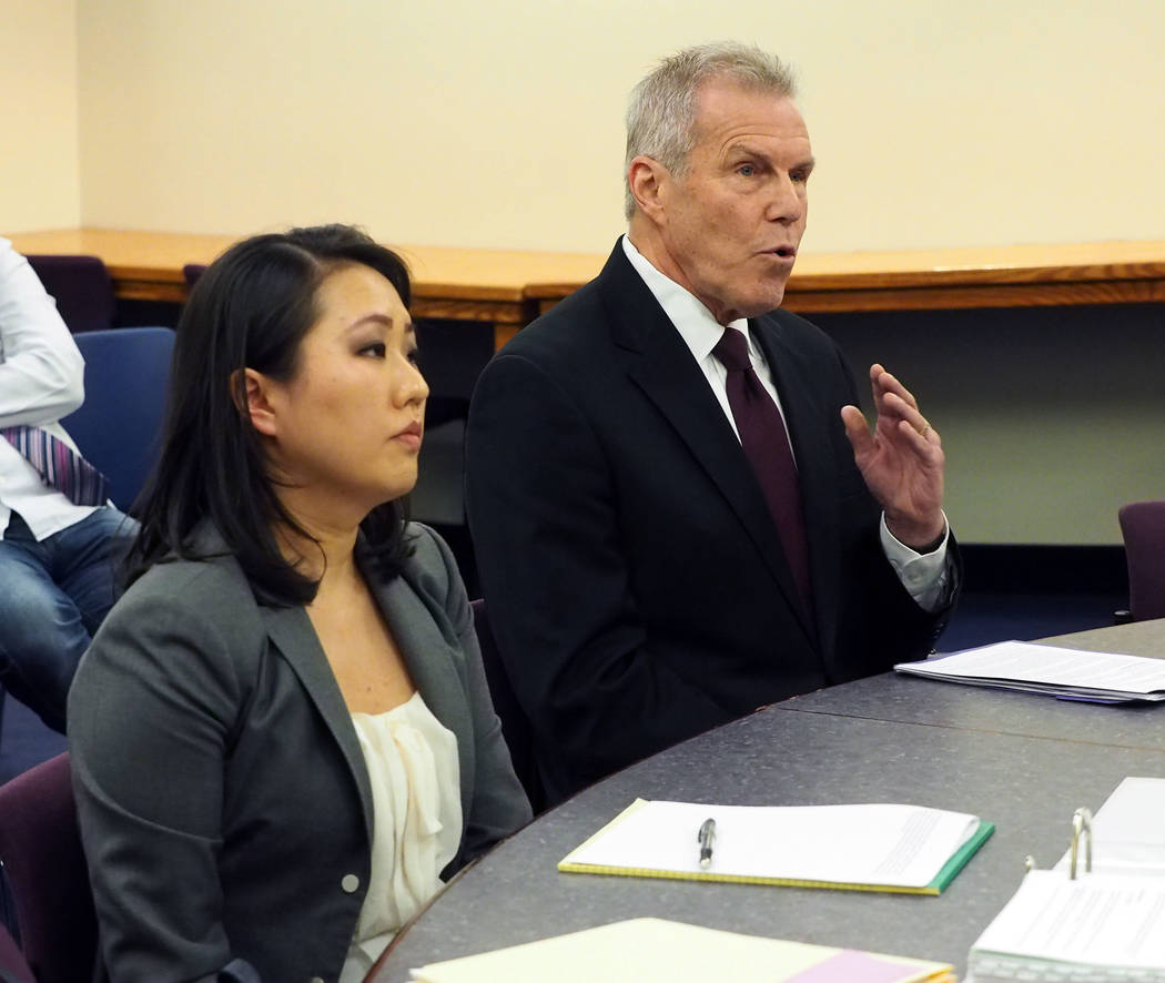 Deputy Attorney General Caroline Bateman and Roy Englebrecht take part in a disciplinary hearing by the Nevada Athletic Commission, March 23, 2016. Bateman has been named First Assistant Attorney ...