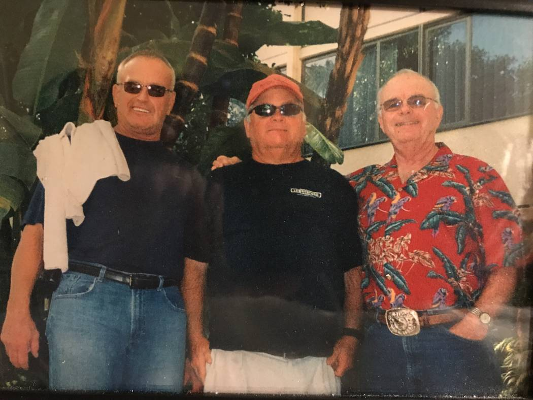 Former major league hitting coach Rick Down, left, is shown with Las Vegas friends Bob Snider, center, and Don Richardson. Down, 68, died at his Las Vegas home on Saturday. (Courtesy Don Richardson)