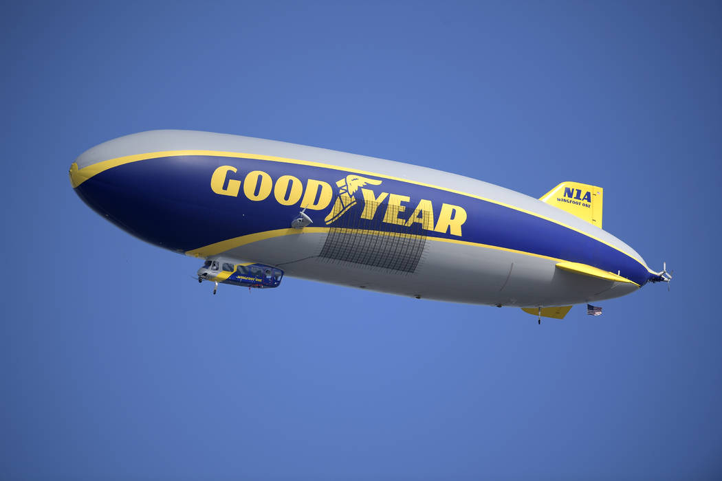 Goodyear Blimp flies above, into College Football Hall of Fame