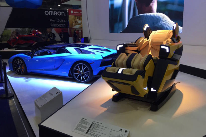 Body Friend USA's massage chair made for the Lamborghini Aventador at CES in Las Vegas on Tuesday, Jan. 8, 2019. (Chase Stevens/Las Vegas Review-Journal)