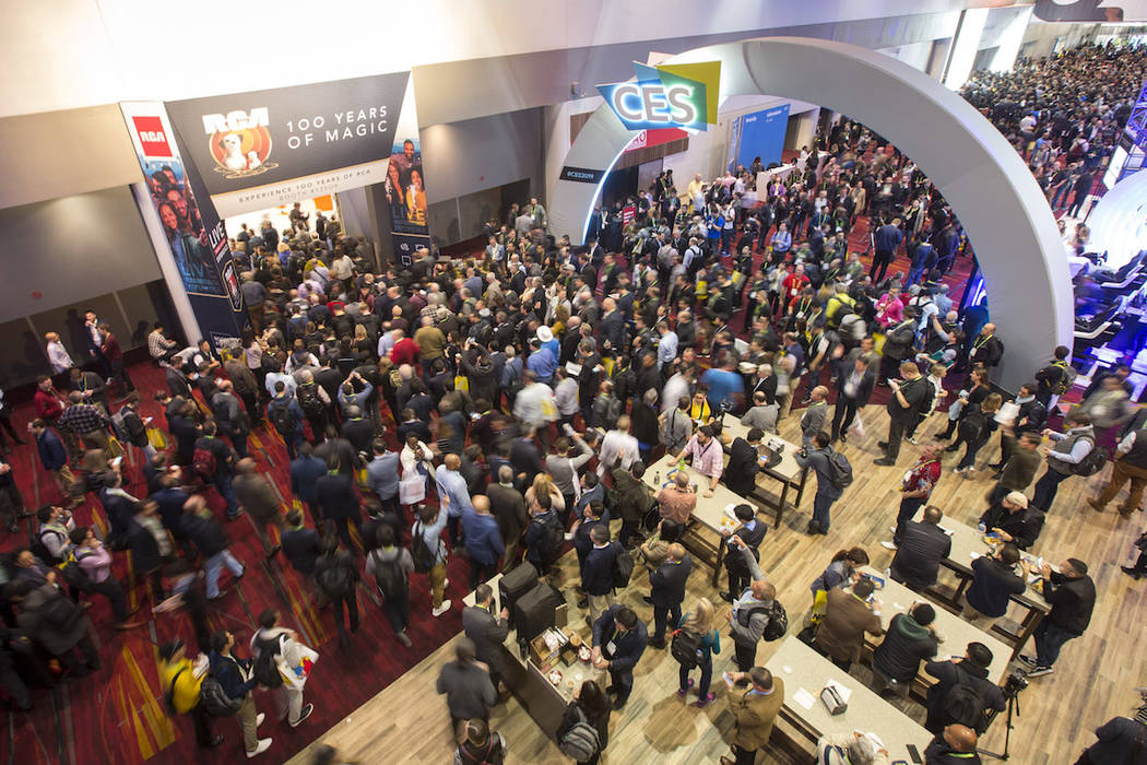 Show attendees enter the Central Hall on day one of CES at the Las Vegas Convention Center on Tuesday, Jan. 8, 2019. Richard Brian Las Vegas Review-Journal @vegasphotograph