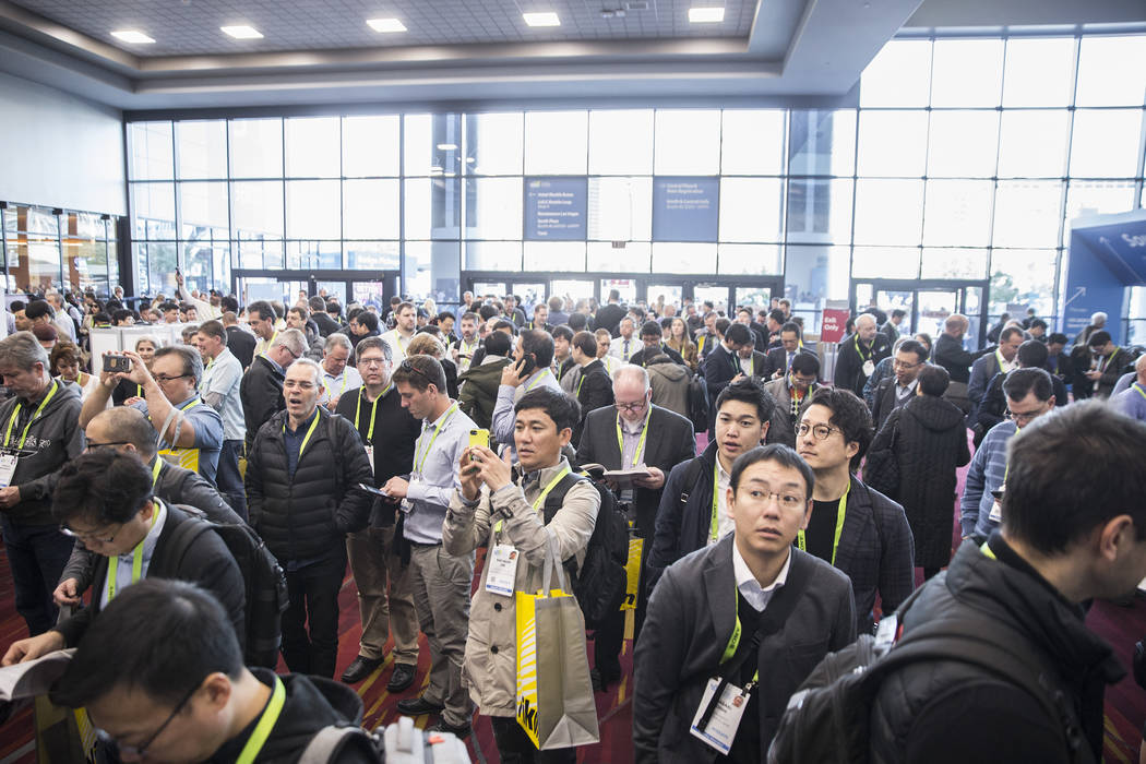 The lobby of the South Hall is jammed while people wait for the doors to open during the first day of CES 2019 on Tuesday, Jan. 8, 2019, at the Las Vegas Convention Center, in Las Vegas. The four ...