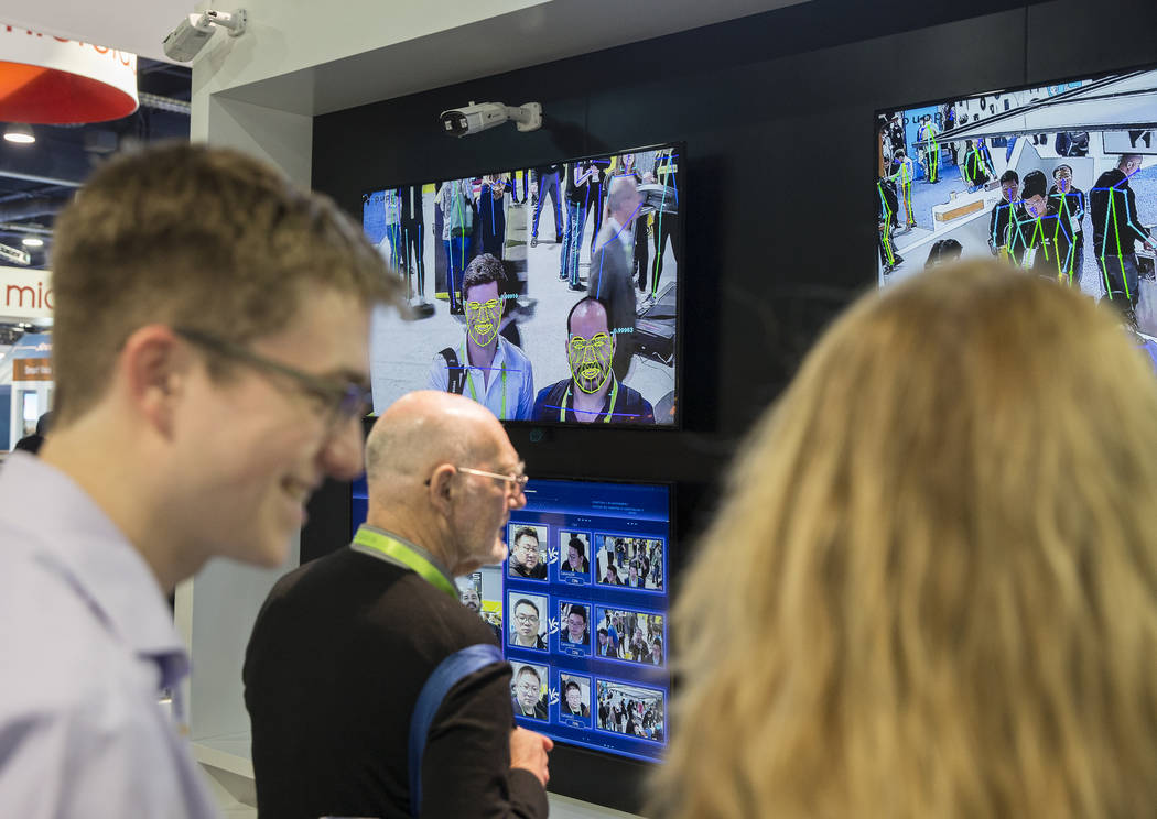 Facial recognition visual intelligence software records and profiles convention goers during the first day of CES 2019 on Tuesday, Jan. 8, 2019, at the Las Vegas Convention Center, in Las Vegas. T ...