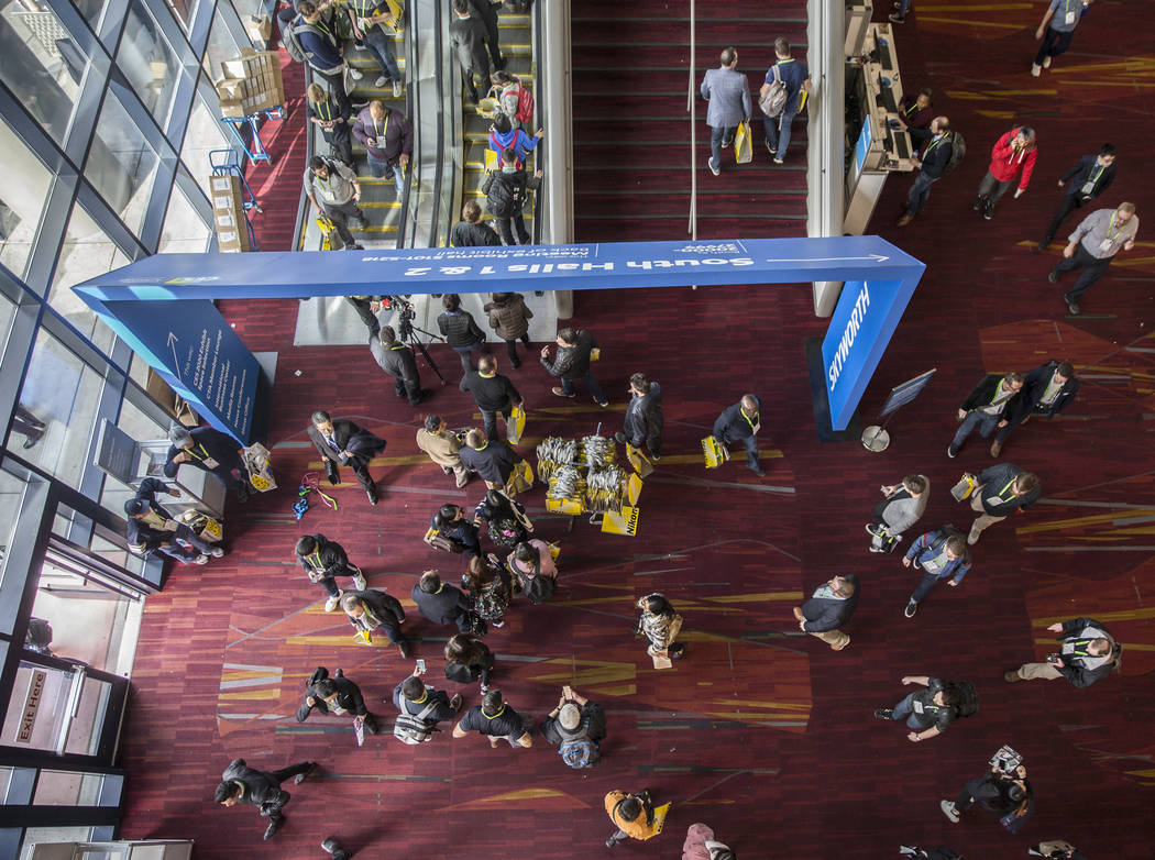 The lobby of the South Hall is packed during the first day of CES 2019 on Tuesday, Jan. 8, 2019, at the Las Vegas Convention Center, in Las Vegas. The four day tech event brings over 4,500 vendors ...