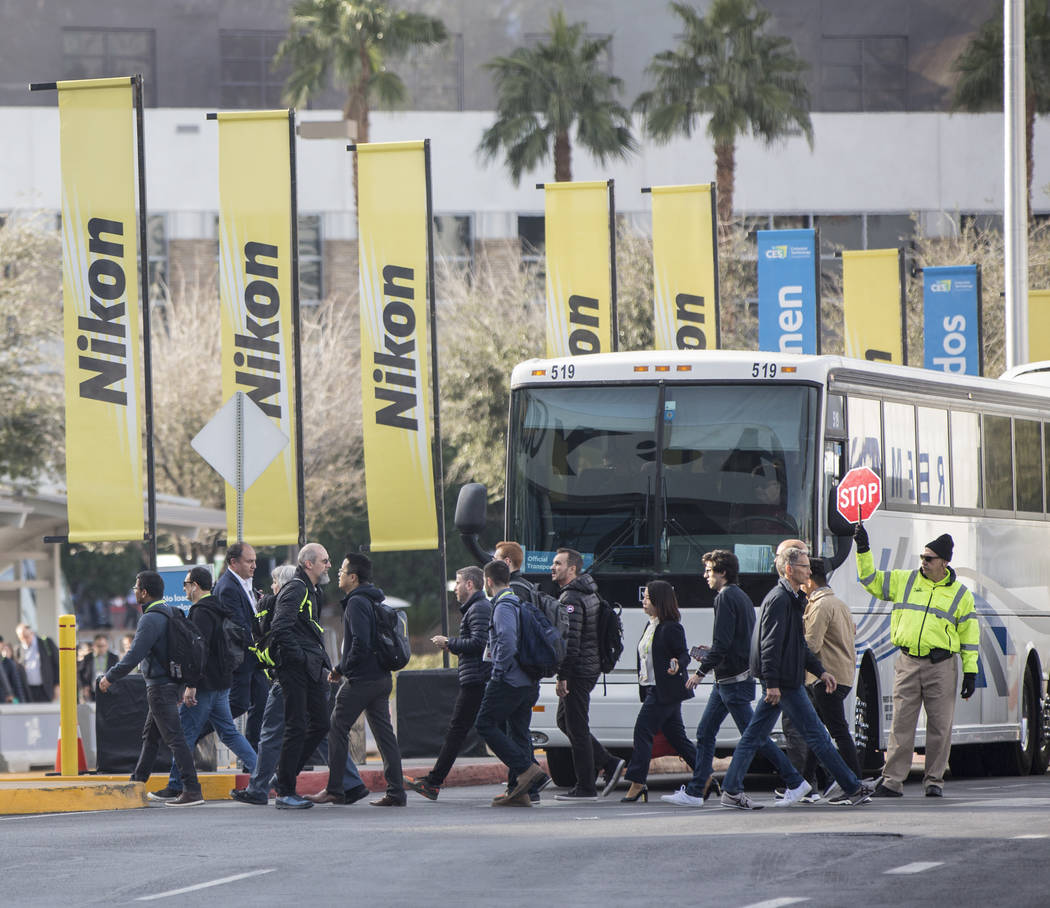 The sidewalks outside the Las Vegas Convention Center are packed during the first day of CES 2019 on Tuesday, Jan. 8, 2019, in Las Vegas. The four day tech event brings over 4,500 vendors and 180, ...