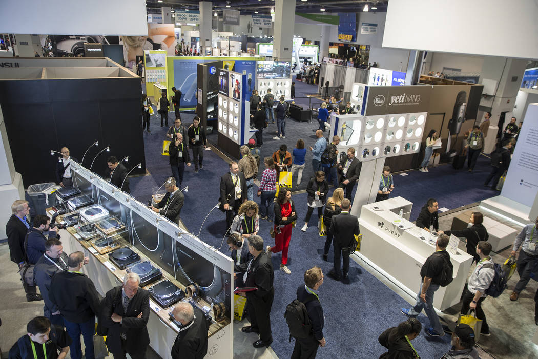 The South Hall is packed during the first day of CES 2019 on Tuesday, Jan. 8, 2019, at the Las Vegas Convention Center, in Las Vegas. The four day tech event brings over 4,500 vendors and 180,000 ...