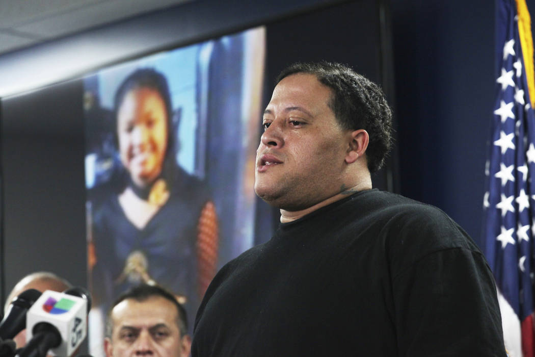 FILE - In this Monday, Dec. 31, 2018 file photo, Christopher Cevilla, father of 7-year-old Jazmine Barnes who was fatally shot Dec. 30, 2018, while in a car with her family, speaks during a news c ...