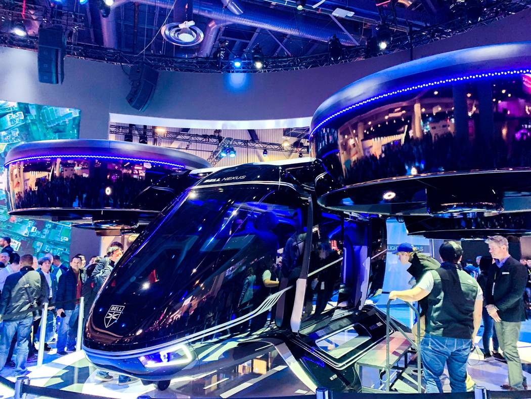 "Bell's ""Bell Nexus"" air taxi concept vehicle on display at CES, Jan. 8, 2019. Uber plans to use the vehicles in its uberAIR initiative slated to kick off in the testing phase in 2020 and commercia ..."