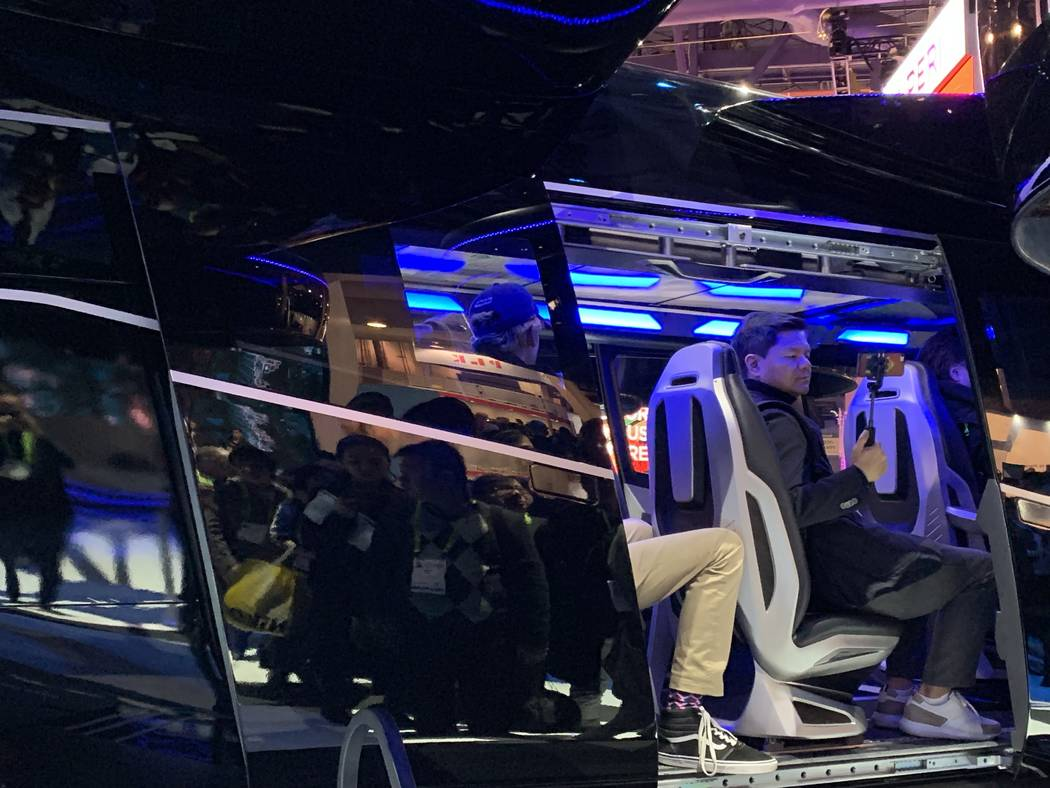 """Bell's """"Bell Nexus"""" air taxi is roughly the same size as a traditional helicopter and can fit up to four passengers. (Mick Akers/Las Vegas Review-Journal)"""