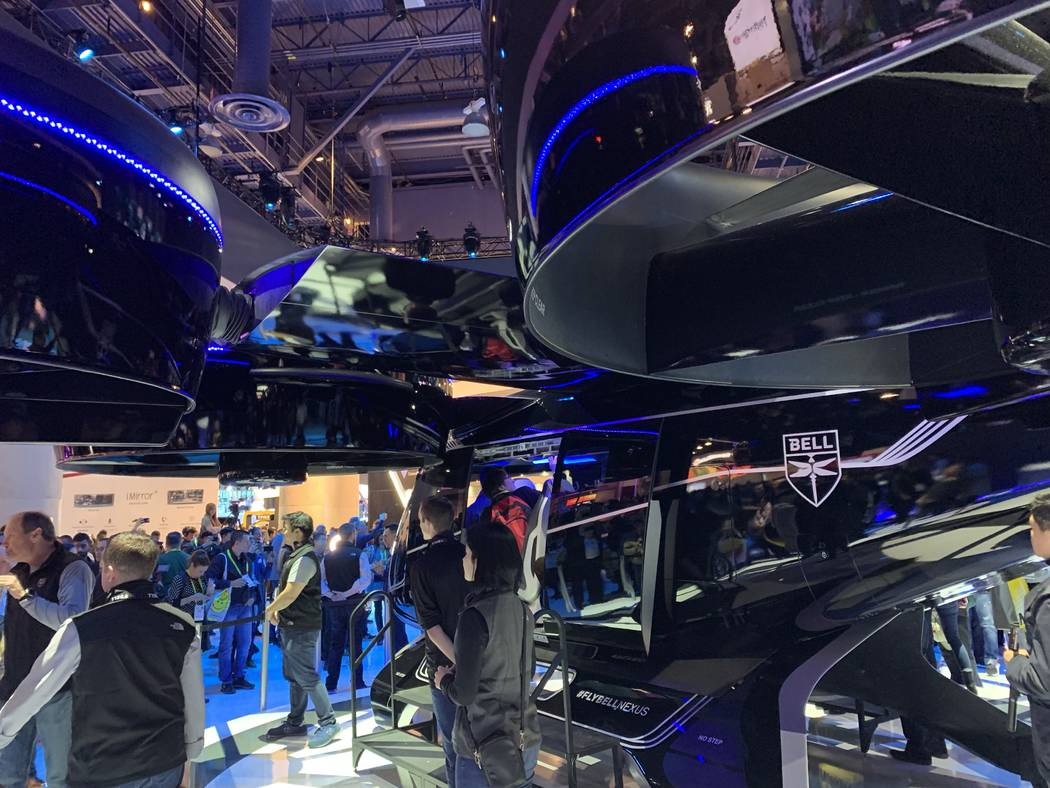 """Bell's """"Bell Nexus"""" flying car was unveiled at CES Tuesday, Jan. 9, 2019. (Mick Akers/Las Vegas Review-Journal)"""