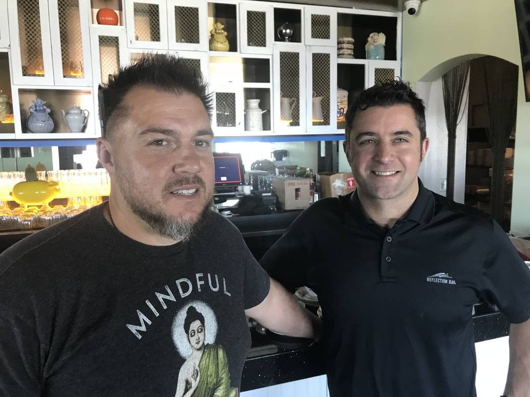 Antonio Nunez (left) and Scott Commings (right). The Stove will feature a main dining room, a Coffee Chill Room and a Twisted Tea Room. (Al Mancini Las Vegas Review-Journal)