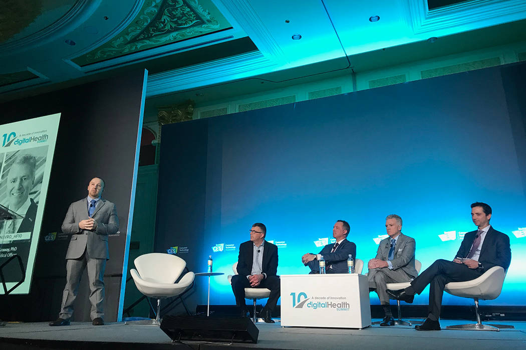 Steven Falowski of the North American Neuromodulation Society moderates a panel on neuromodulation at CES on Tuesday, January 8, 2019. To his left, from left-to-right, are Ryan Lakin of Abbott, Ma ...