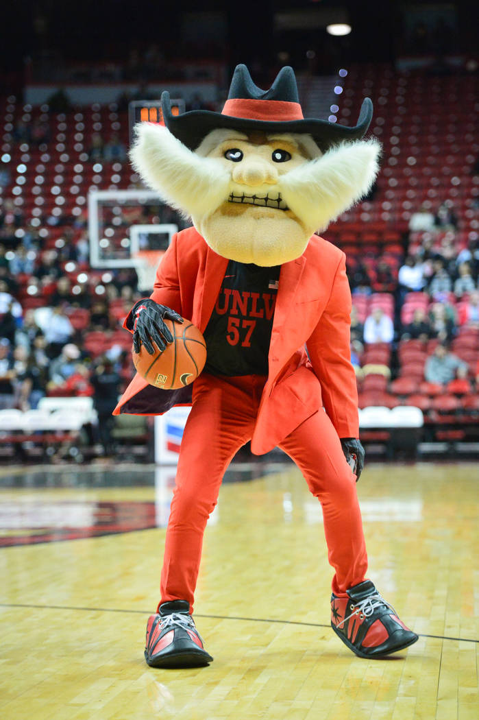 Hey Reb! dribbles the ball before the UNLV Rebels and the New Mexico Lobos NCAA basketball game at the Thomas & Mack Center in Las Vegas on Tuesday, Jan. 22, 2019. Brett Le Blanc Las Vegas Rev ...