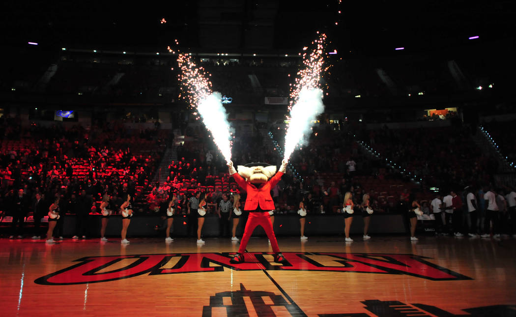 Hey Reb! shoots off fireworks before the UNLV Rebels and the New Mexico Lobos NCAA basketball game at the Thomas & Mack Center in Las Vegas on Tuesday, Jan. 22, 2019. Brett Le Blanc Las Vegas ...