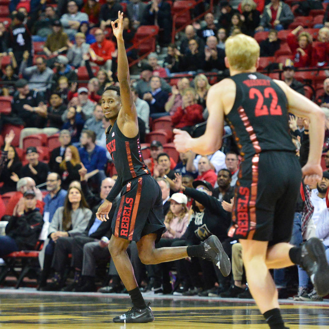 UNLV Rebels guard Kris Clyburn (1) celebrates a three point shot during the second half of the UNLV Rebels and the New Mexico Lobos NCAA basketball game at the Thomas & Mack Center in Las Vega ...