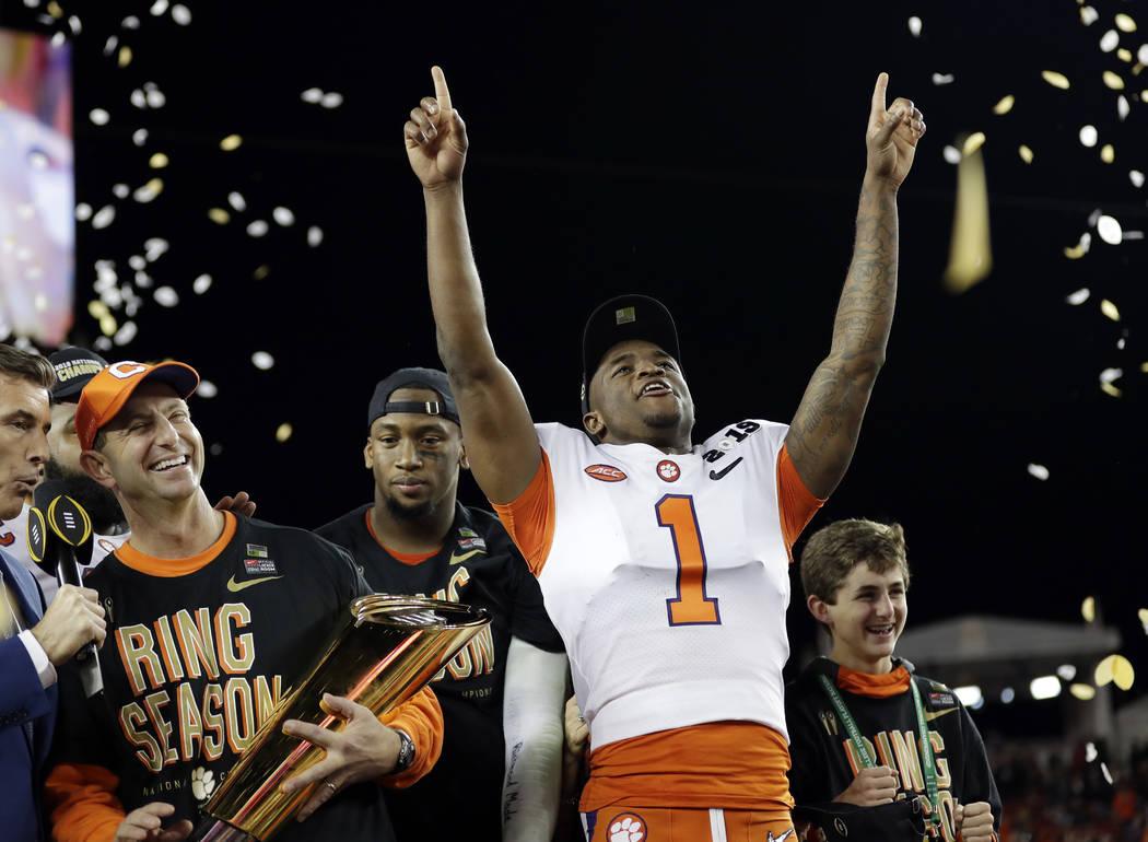 Clemson's Trayvon Mullen celebrates after the NCAA college football playoff championship game against Alabama, Monday, Jan. 7, 2019, in Santa Clara, Calif. Clemson beat Alabama 44-16. (AP Photo/Da ...