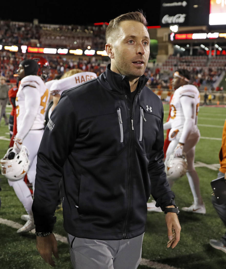 In this Nov. 10, 2018 file photo Texas Tech coach Kliff Kingsbury walks off the field after the team's NCAA college football game against Texas in Lubbock, Texas. The Arizona Cardinals have hired ...