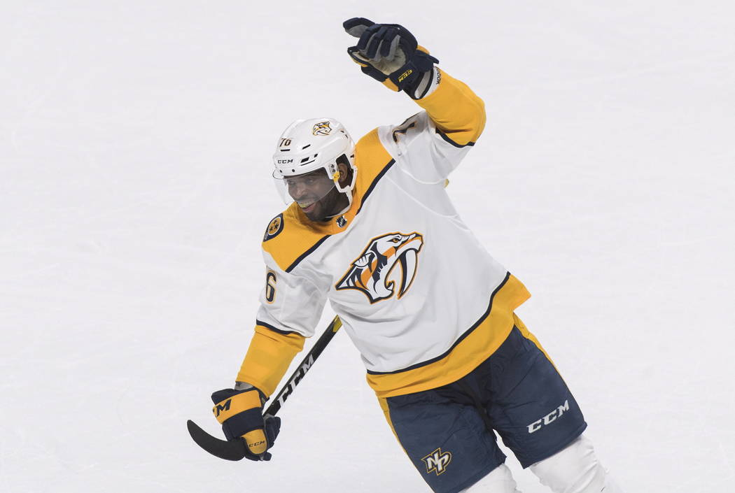 Nashville Predators' P.K. Subban reacts after his team's win over the Montreal Canadiens in an NHL hockey game in Montreal, Saturday, Jan. 5, 2019. (Graham Hughes/The Canadian Press via AP)