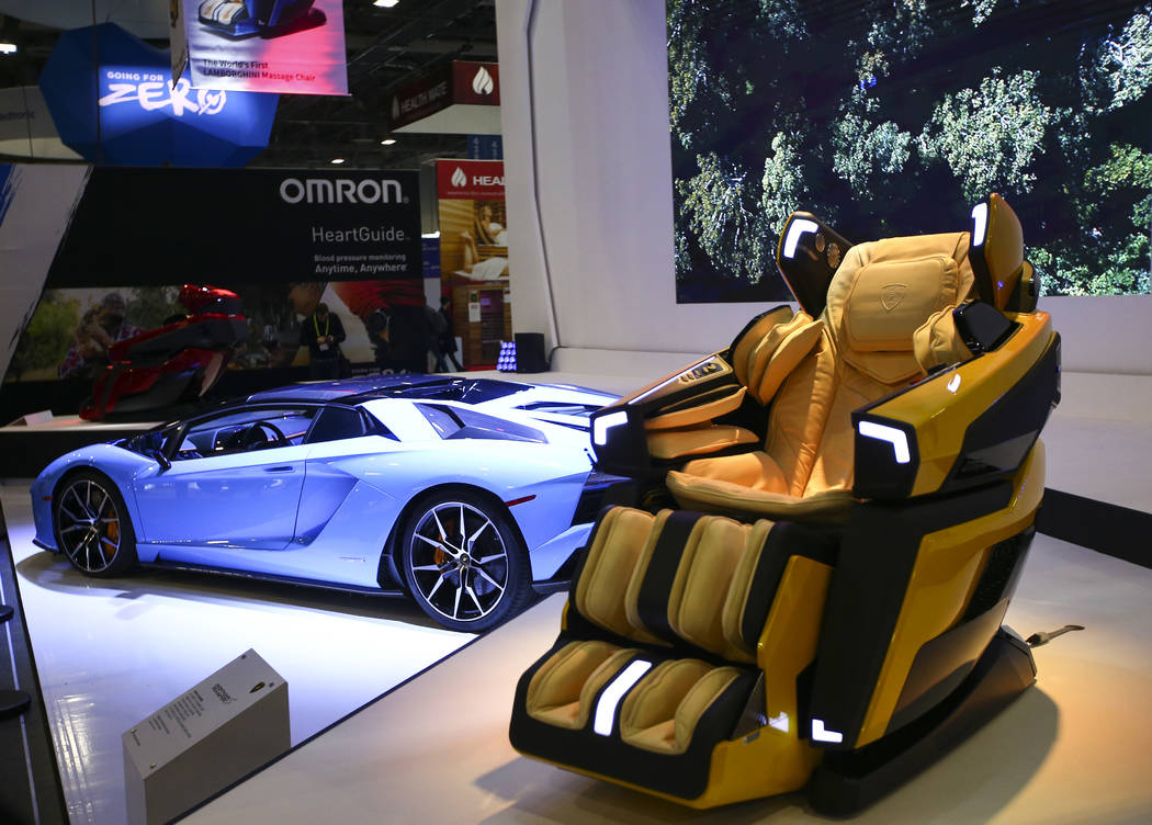 A Bodyfriend massage chair for use in a Lamborghini Aventador at the Sands Expo and Convention Center during CES in Las Vegas on Tuesday, Jan. 8, 2019. Chase Stevens Las Vegas Review-Journal @csst ...