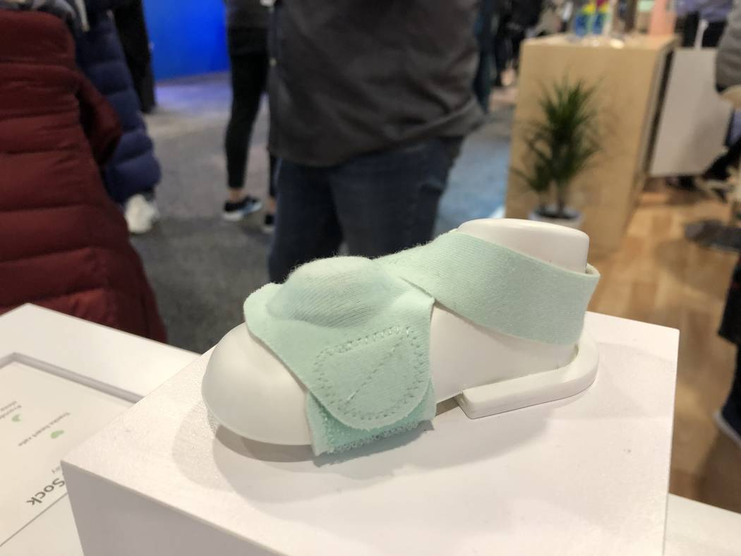 The Owlet Smart Sock, a wearable technology that tracks a baby's heart rate and oxygen, on display at CES 2019 on Tuesday, January 8. The product launched in 2016 and costs $299. (Bailey Schulz/La ...