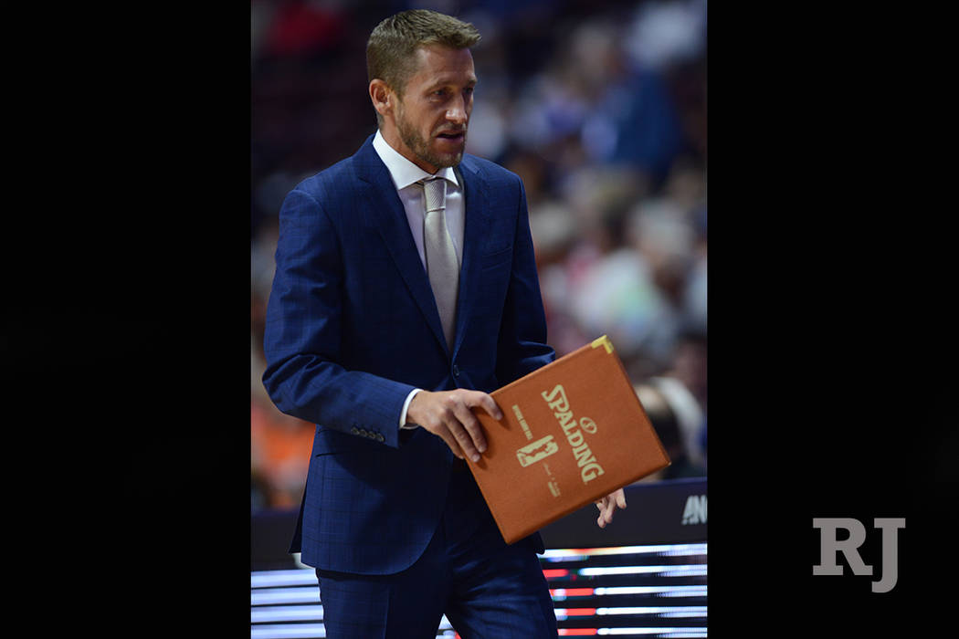 Phoenix Mercury Assistant Coach Todd Troxel during the game as the Connecticut Sun host the Phoenix Mercury on August 04, 2017 at the Mohegan Sun Arena in Uncasville, Connecticut. (Photo by Willia ...