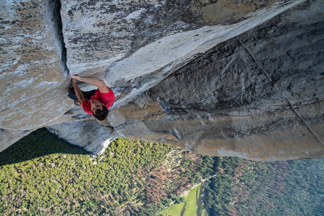Alex Honnold making the first free solo ascent of El Capitan's Freerider in Yosemite National Park, California. (National Geographic/Jimmy Chin)