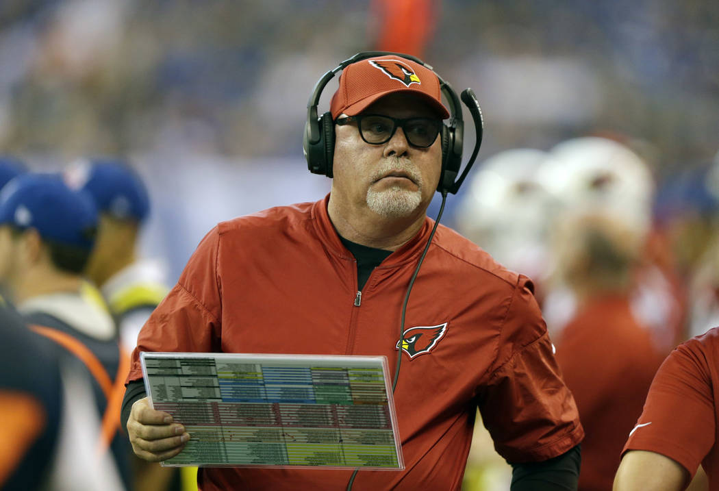 In this Sunday, Sept. 17, 2017 file photo, Arizona Cardinals head coach Bruce Arians watches during the first half of an NFL football game against the Indianapolis Colts in Indianapolis. Bruce Ari ...