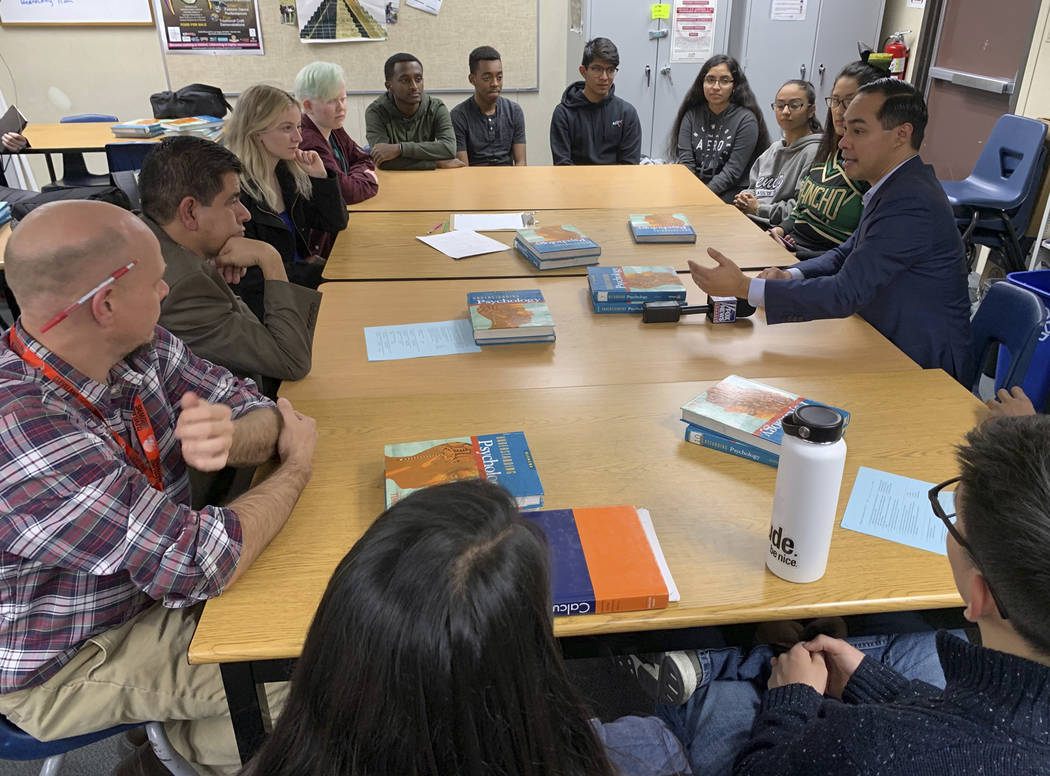 Former Obama housing chief Julian Castro meets with students at Rancho High School in Las Vegas on Tuesday, Jan. 8, 2019. Castro has met with Nevada Democrats and leaders of the Latino community i ...