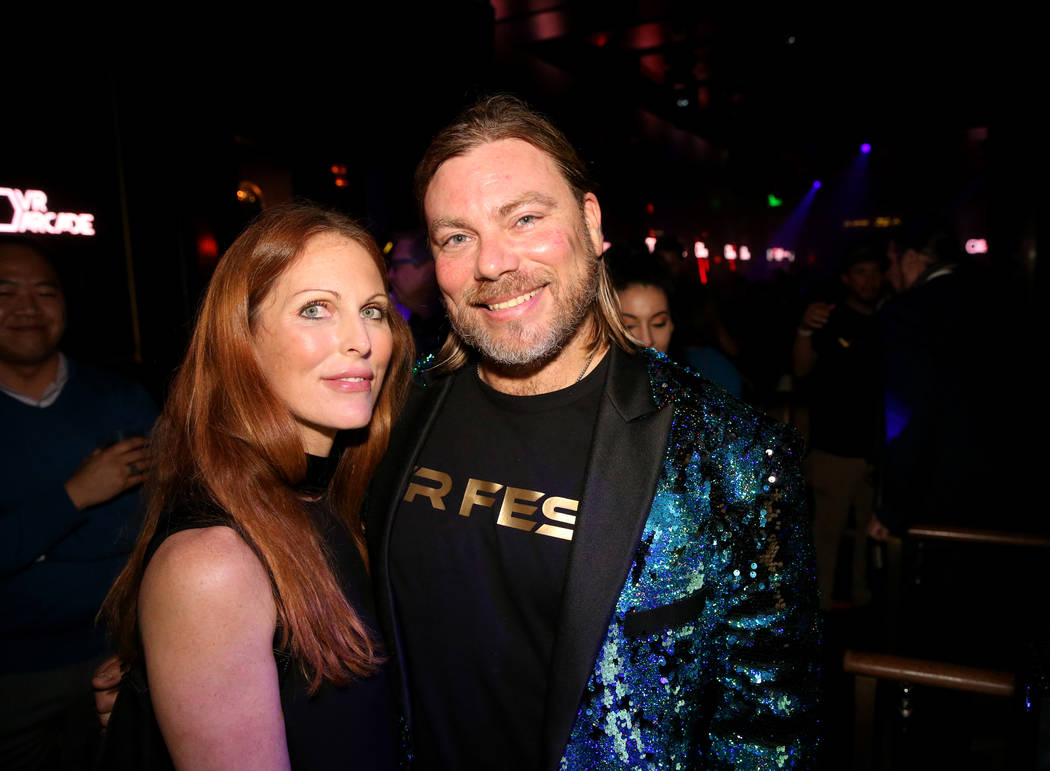 Chris Crescitelli, founder of VR Fest Las Vegas, right, with friend Ryan Pulliam of Los Angeles during the CES Opening Party presented by Omnia Nightclub at Caesars Palace in Las Vegas Tuesday, Ja ...